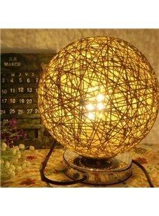 Rural Style Rattan Ball Design Table Lamp