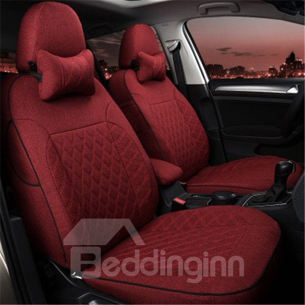 Fahion Solid Design Easy Breathable Flax Material Universal Car Seat Cover