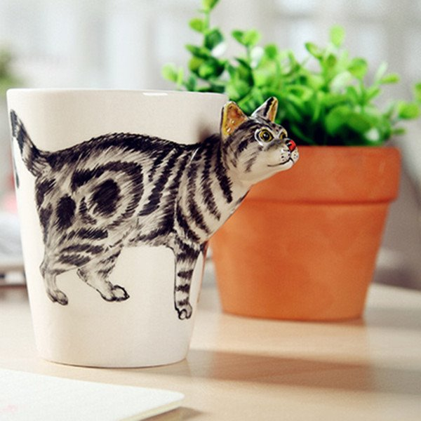 Vivid Kitty Design Ceramic Hand Painting Cup 12219090