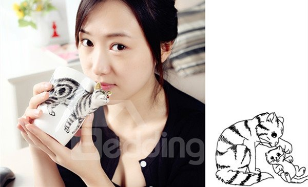 Vivid Kitty Design Ceramic Hand Painting Cup