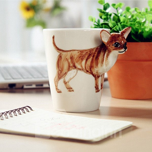 Lovely Chihuahua Design Ceramic Hand Painting Cup 12219091