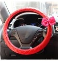 Princess Wind Style With Beautiful Bow Medium Car Steering Wheel Cover