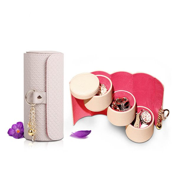 Lovely Convenient Creative Leather Travel Jewelry Box