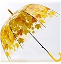 Beautiful Maple Leaves Print Transparent Water-Proof Umbrella