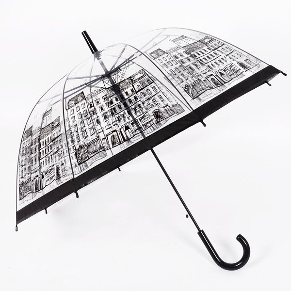 Retro Style Building Sketch Print Transparent Water-Proof Umbrella