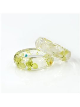60 MM Hand-made Light Green Preserved Flowers Resin Round Bracelet