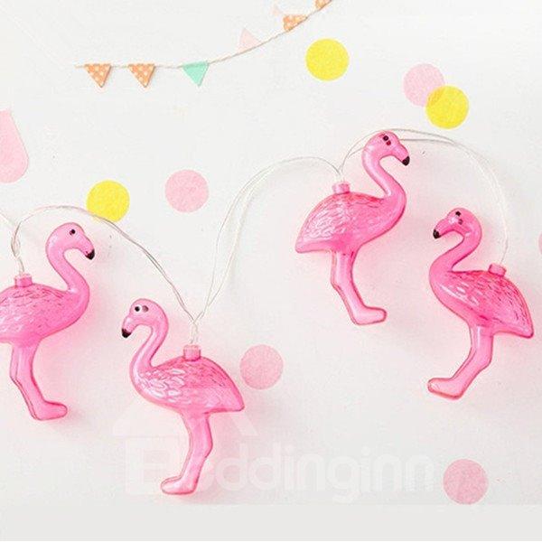 Flamingo Shape Creative 4.92 Inches Long 10 LED Pink LED Lights