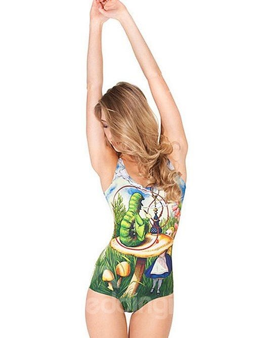 Colorful U-neck 3D Lovely Girl Huge Mushroom Pattern Lawn Background One-piece Swimwear