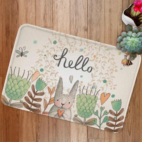Cute Cartoon Rabbit Say Hello Print Bath Rug