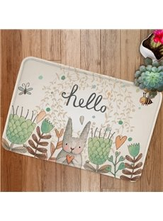 Cute Cartoon Rabbit Say Hello Print Bath Rug