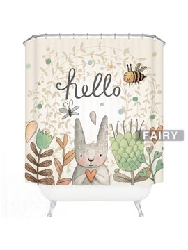 Cute Cartoon Rabbit Say Hello Print 3D Bathroom Decor Shower Curtain