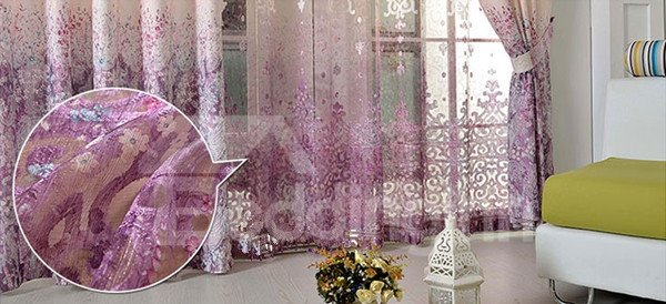 Jacquard Purple Gradient Print 2-Pieces Custom Sheer Curtain