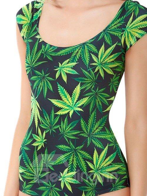 Bright Round Neck 3D Leaves Pattern Black Background One-piece Swimwear