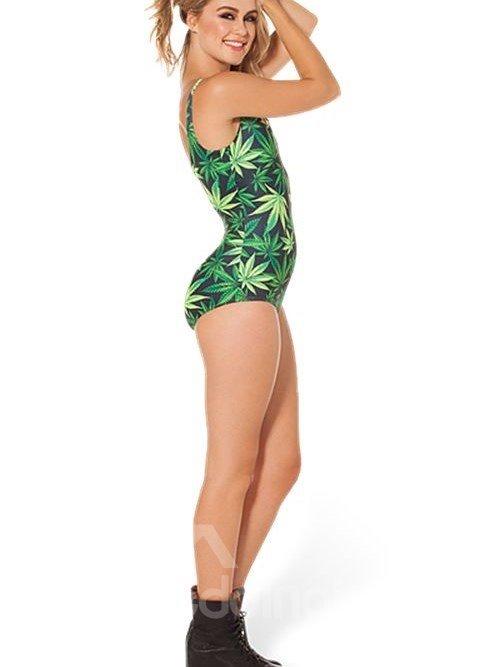 Popular U-neck 3D Leaves Pattern Black Background One-piece Swimwear