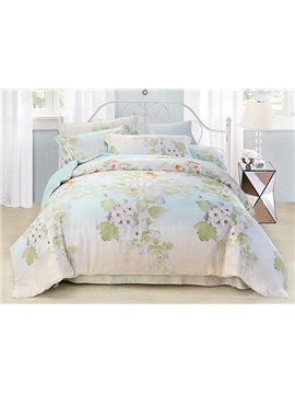 Luxury Forsythia Flower Print 4-Piece Tencel Duvet Cover Sets