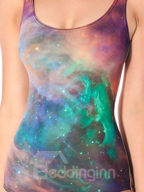 Unique U-neck 3D Satrry Sky Pattern One-piece Swimwear