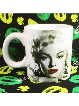 White Creative Ceramic Marilyn Monroe Pattern Coffee Cup