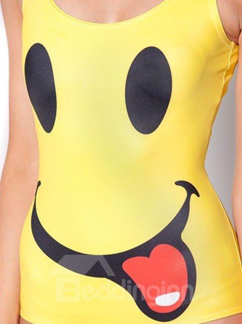Lovely U-neck 3D Big Smile Pattern Yellow Background One-piece Swimwear