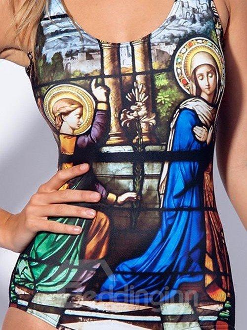 Pretty U-neck 3D European Oil Painting Style Pattern One-piece Swimwear