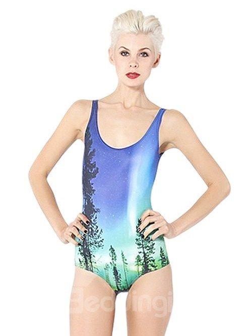 Faddish U-neck 3D Tree with Stars Shining in Sky Pattern One-piece Swimwear