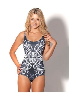 Cool U-neck 3D Skeletal Structure Pattern One-piece Swimwear
