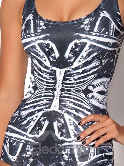 Cool U-neck 3D Skeletal Structure Pattern One-piece Swimwear
