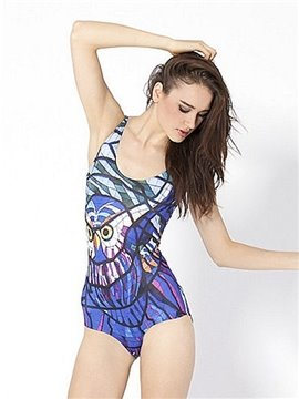 Stunning U-neck Owl Pattern Purple Background One-piece Swimwear