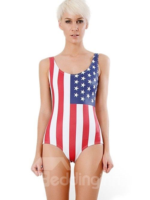 Gorgeous U-neck American Flag Pattern One-piece Swimwear