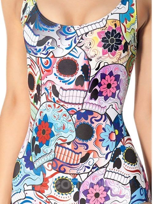 Bright U-neck Colorful Floral Pattern One-piece Swimwear