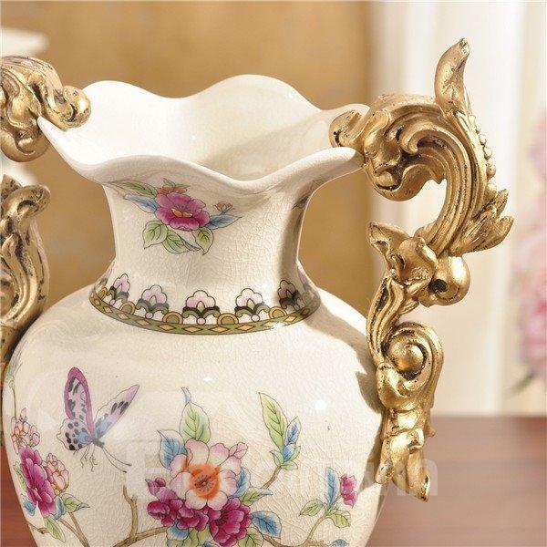 Elegant White Ceramic Decorative Flower Vase Painted Pottery