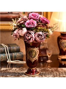 Delicate Red Ceramic European Style Flower Vase Painted Pottery