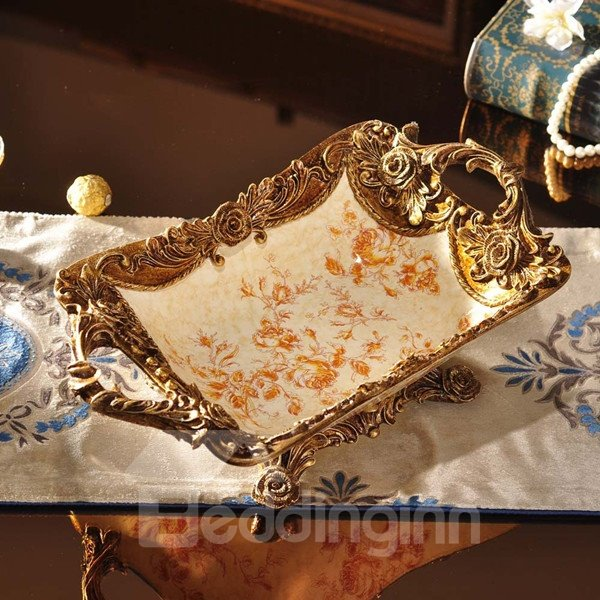 Classical Ceramic Rectangle Flower Pattern Fruit Plate Painted Pottery