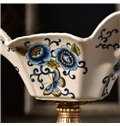 White High Grade Ceramic European Style Flower Pattern Compote Painted Pottery