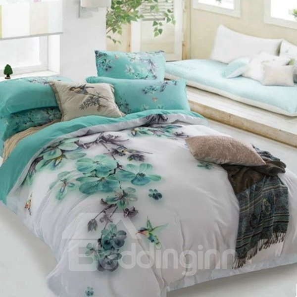 Mysterious Blue Flower and Hummingbird Print 4-Piece Cotton Duvet Cover Sets