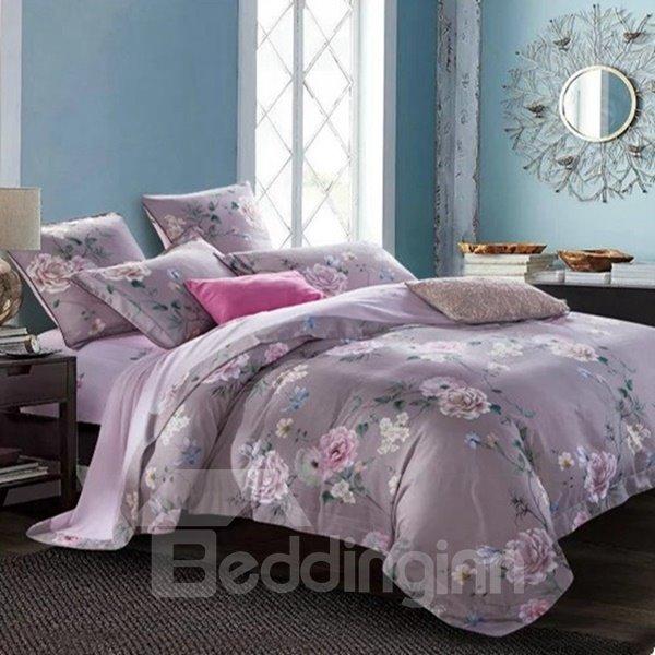 Beautiful Rose Vine Print 4-Piece Cotton Duvet Cover Sets