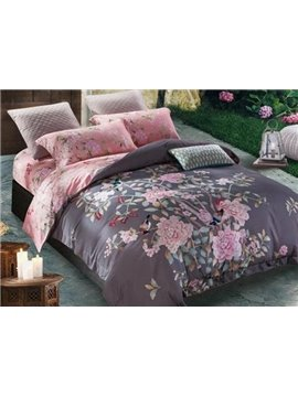 Beautiful Peony and Magpie Print 4-Piece Cotton Duvet Cover Sets