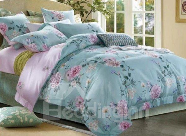 Splendid Peony Print Blue 4-Piece Cotton Duvet Cover Sets 12226395