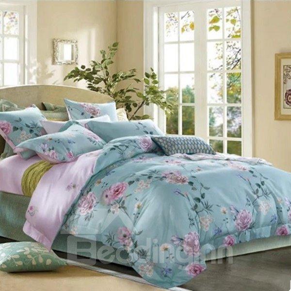 Splendid Peony Print Blue 4-Piece Cotton Duvet Cover Sets
