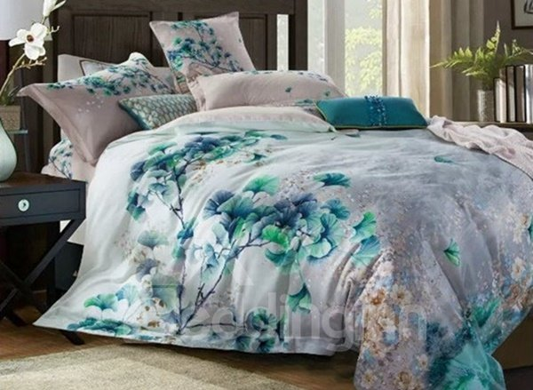 Fresh Green Ginkgo leaves Print 4-Piece Cotton Duvet Cover Sets