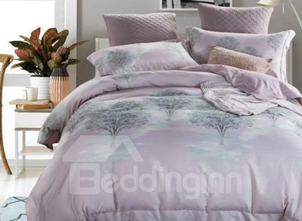 Dreamy Tree Print Light Purple 4-Piece Cotton Duvet Cover Sets