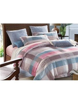 Super Soft Classic Plaid Print 4-Piece Cotton Duvet Cover Sets