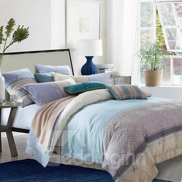 Minimalist Style Chevron Print Blue 4-Piece Cotton Duvet Cover Sets
