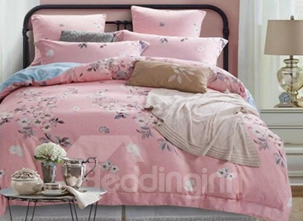 White Pear Blossom Print Pink 4-Piece Cotton Duvet Cover Sets