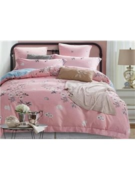 White Pear Blossom Print Pink 4-Piece Cotton Duvet Cover Sets