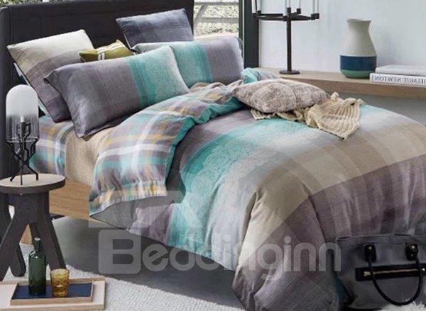 Concise Colorful Plaid Print 4-Piece Cotton Duvet Cover Sets 12226408