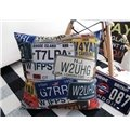 Retro Style Licence Plate Print Throw Pillow