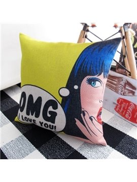 Beautiful Girl and OMG Letter Print Throw Pillow