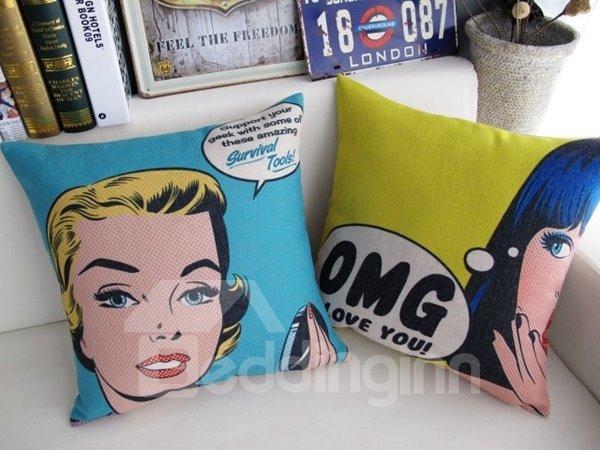 Fancy Cartoon Girl Print Blue Throw Pillow