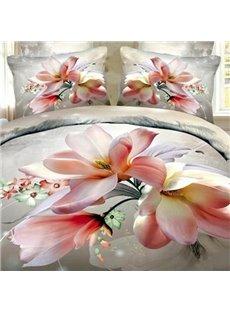 Beautiful Pink Magnolia 3D Printed Cotton 2-Piece Pillow Cases