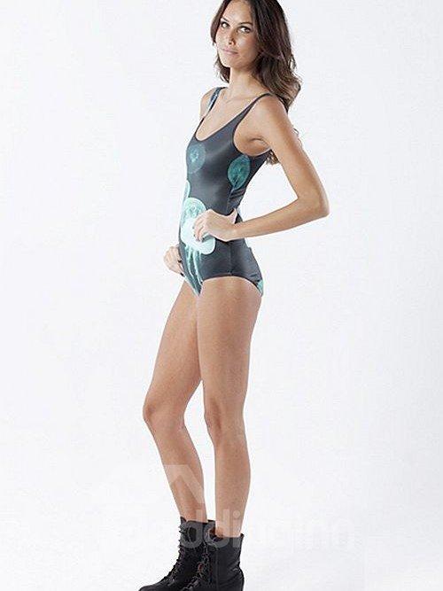Fancy U-neck 3D Jellyfish Pattern Dark Green Background One-piece Swimwear